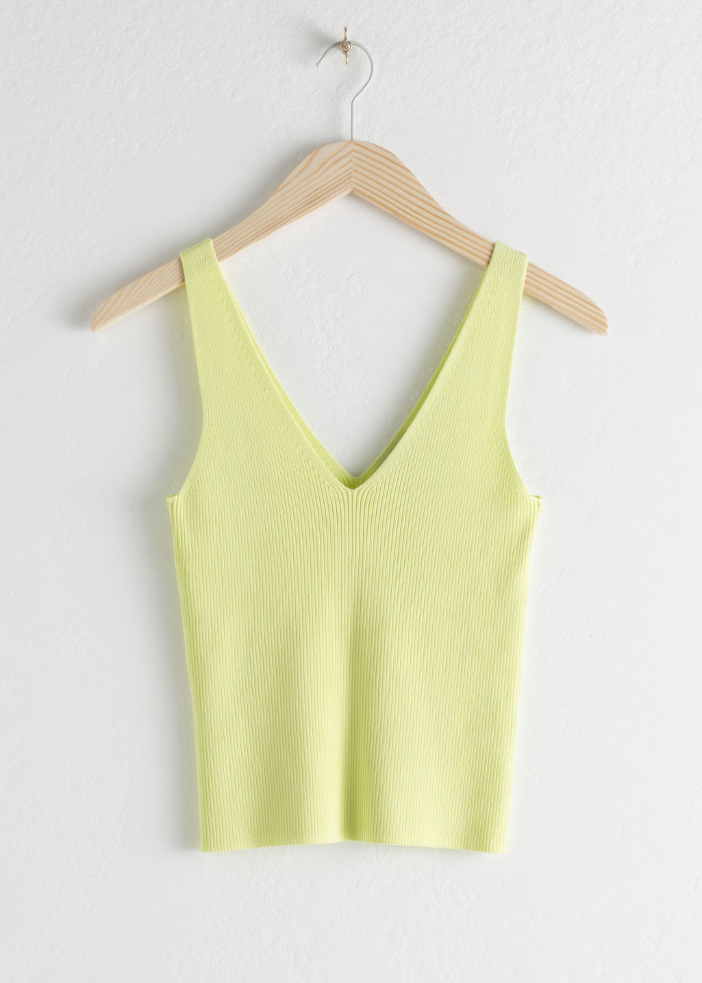 Front image of Stories stretch rib knit tank top in yellow