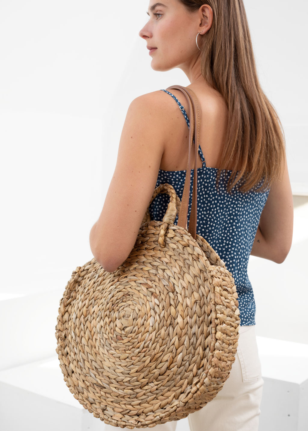 Back image of Stories woven straw circle bag in beige
