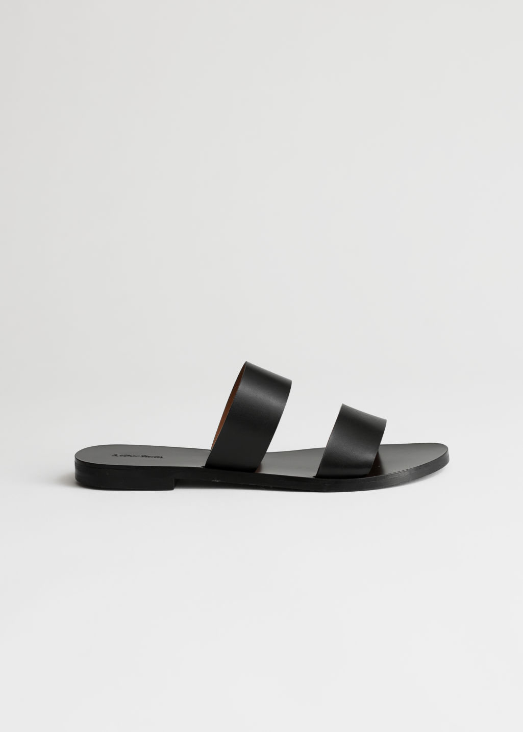 StillLife Front Image of Stories Duo Strap Leather Sandals in Black