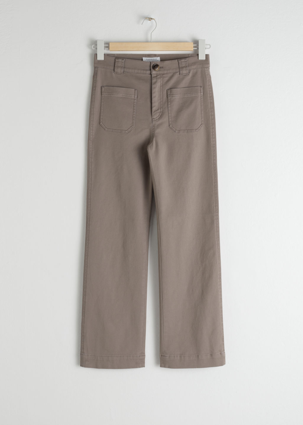 Front image of Stories cotton twill blend trousers in brown