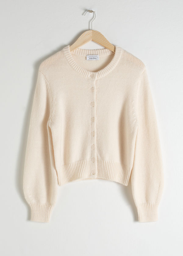 Cropped Wool Blend Cardigan