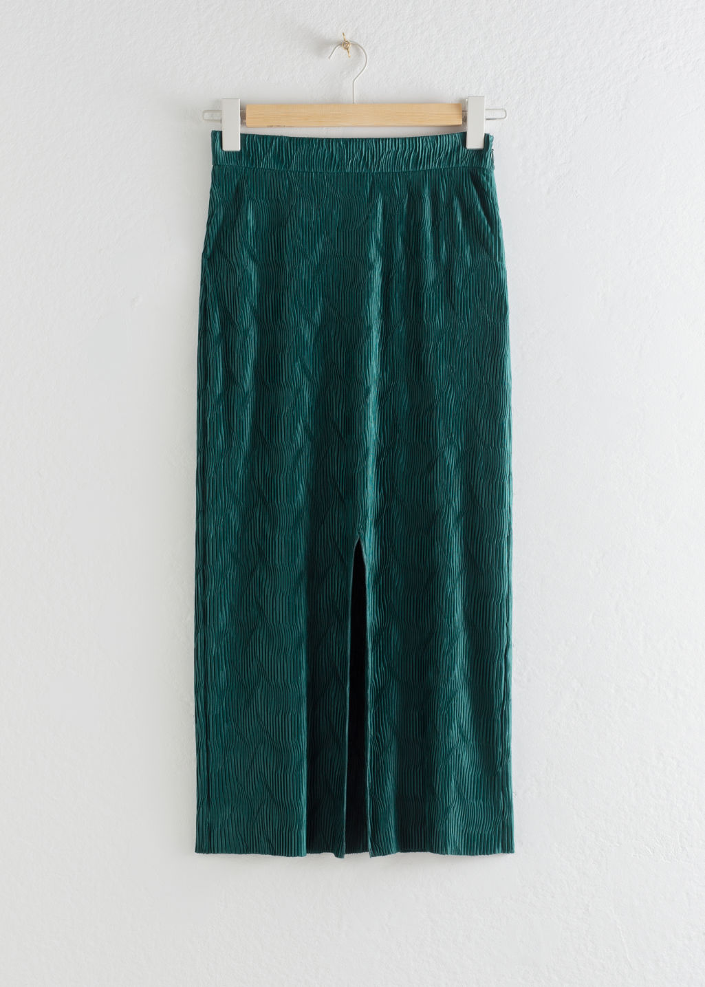 Front image of Stories metallic crinkle midi skirt in green