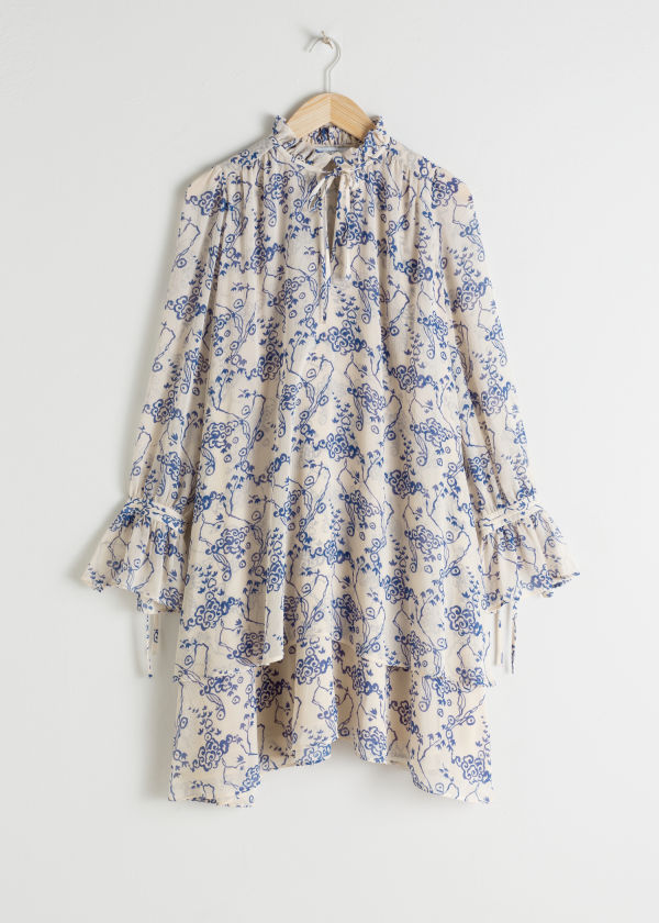 Ruffle Collar Cloud Print Mini Dress