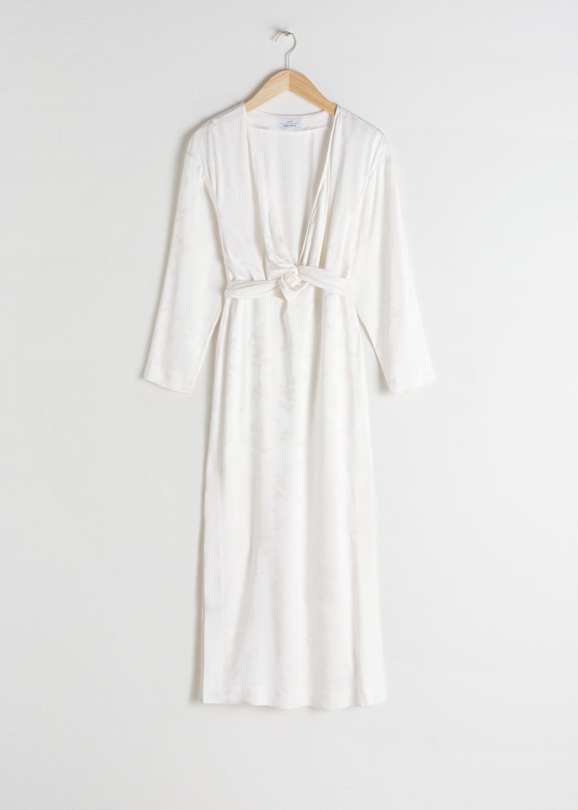 a3e3924bacfc Floral Jacquard Overlapping Midi Dress - White - Midi dresses ...