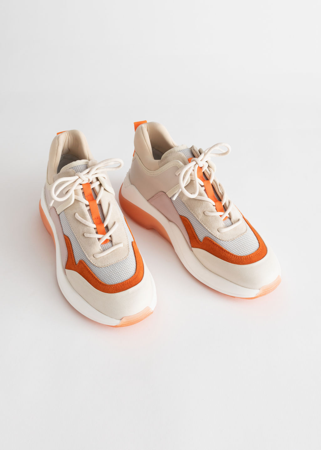 Back image of Stories trio colour block chunky sneakers in orange