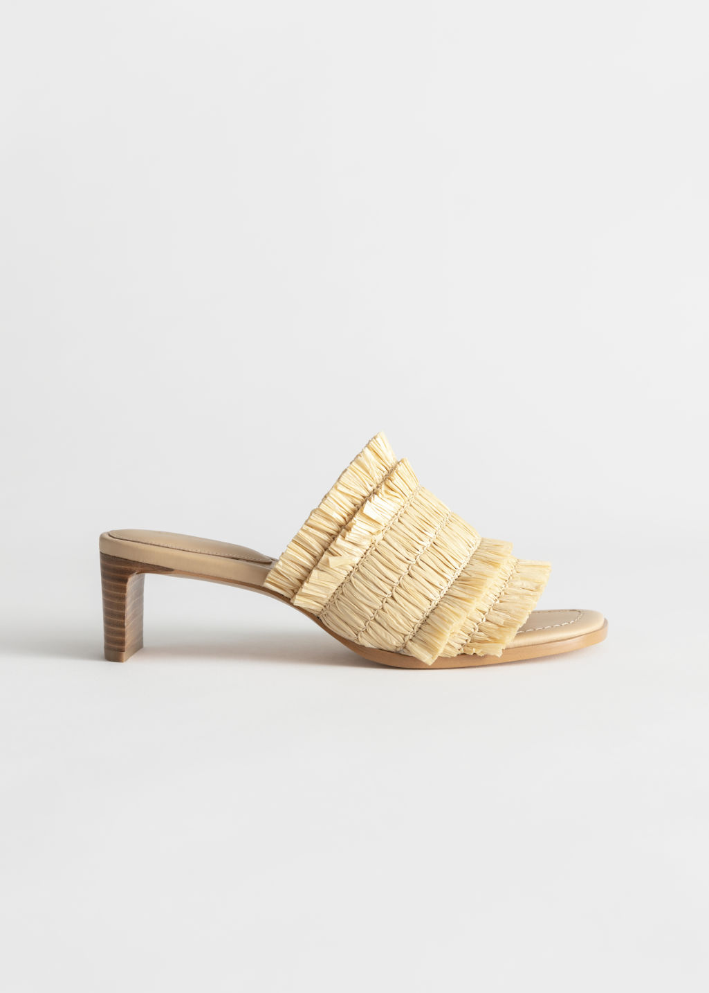 StillLife Front Image of Stories Straw Ruffle Strap Mules in Yellow