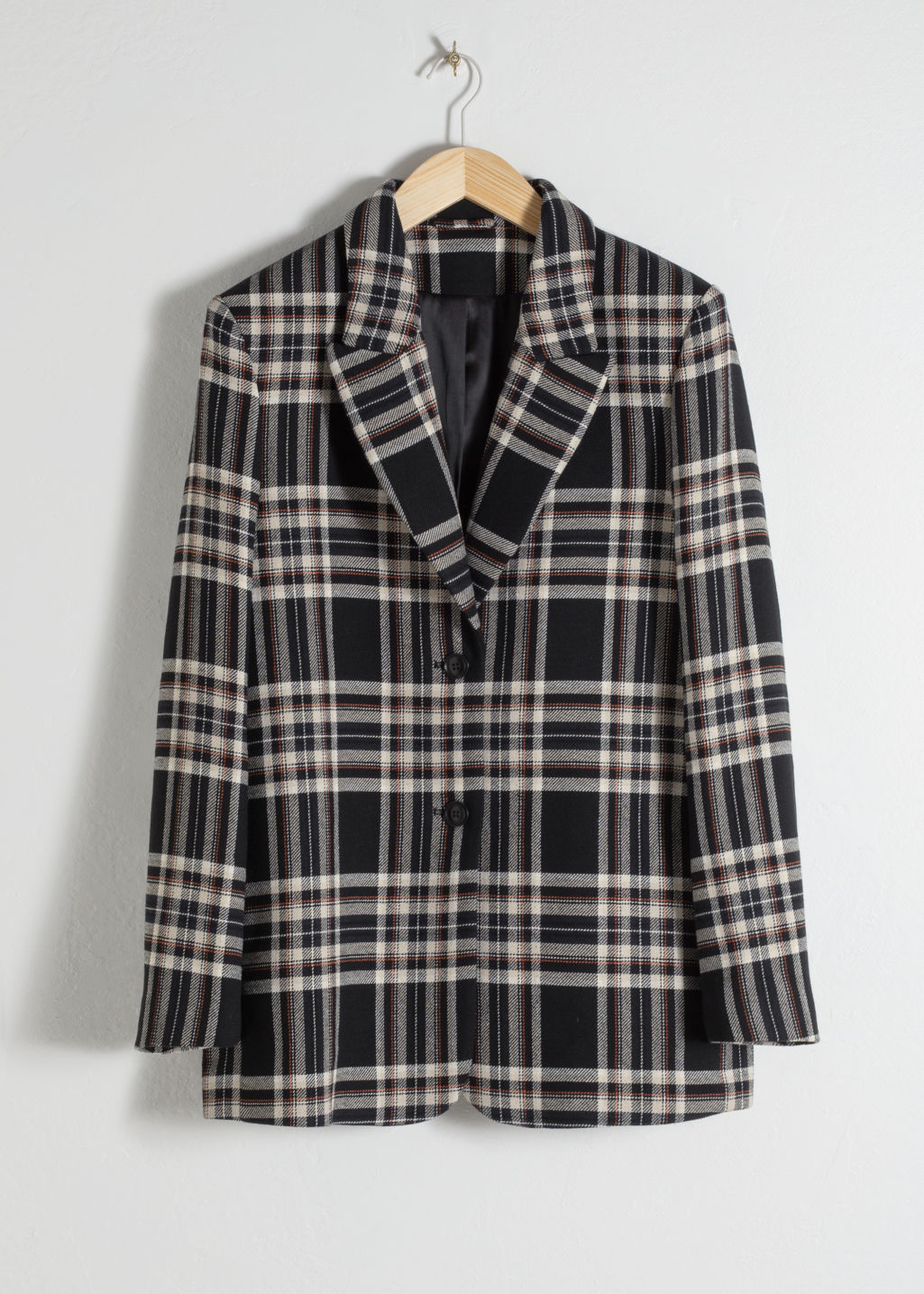 Front image of Stories cotton blend plaid blazer in black