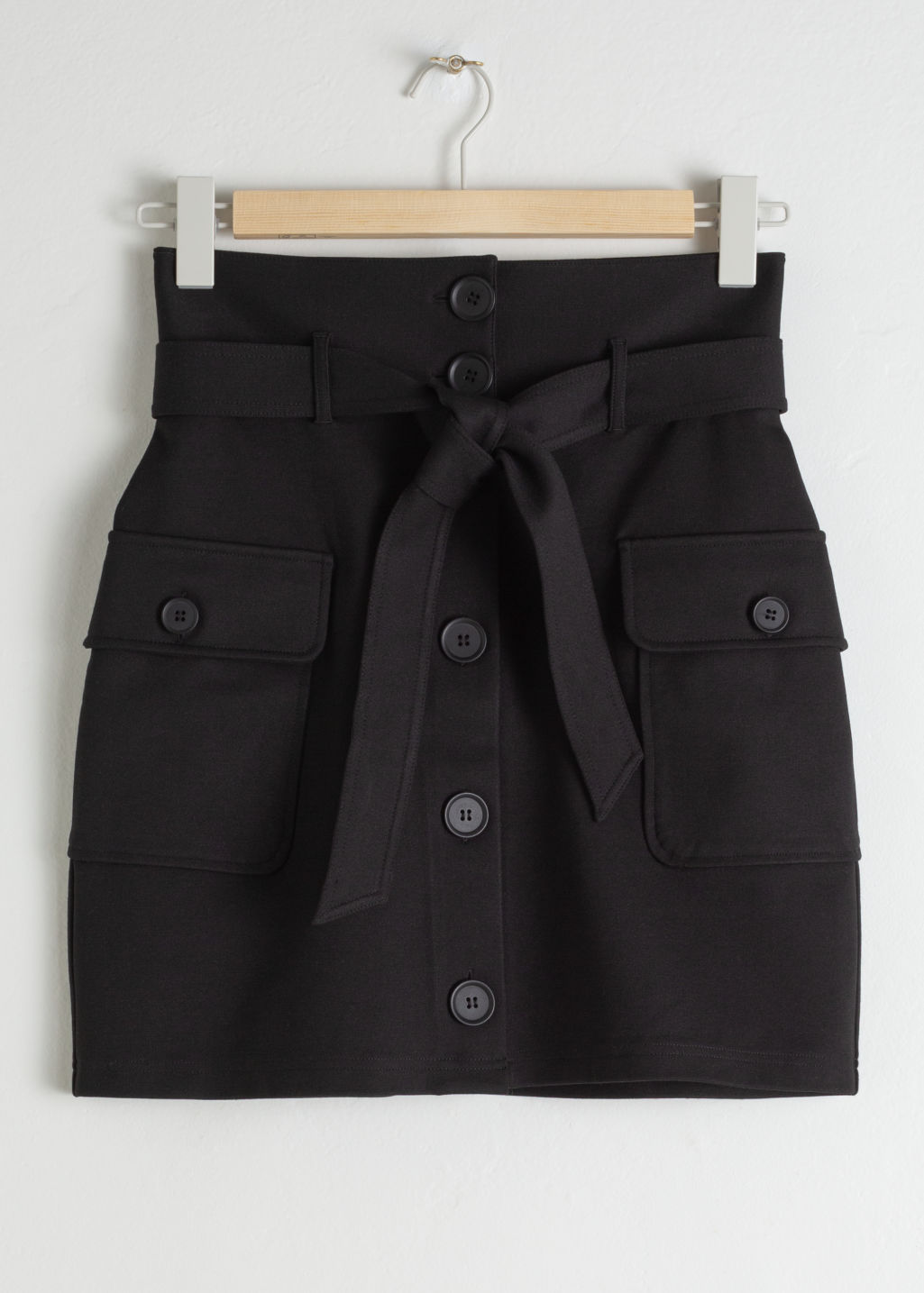 Front image of Stories belted workwear mini skirt in black
