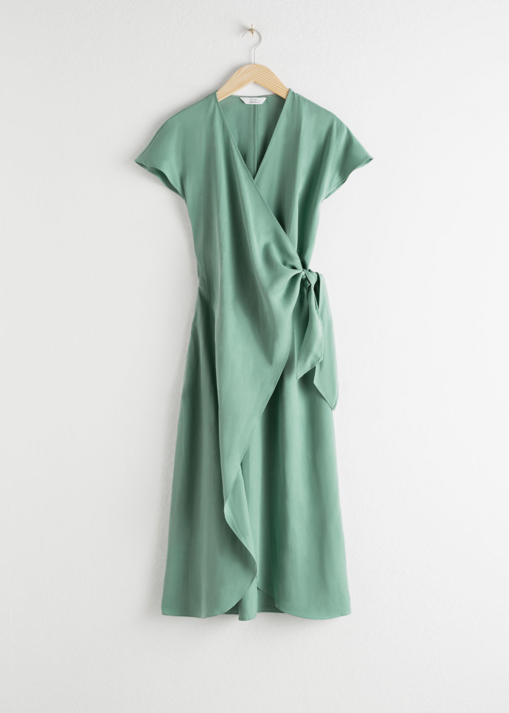 StillLife Front Image of Stories Lyocell Blend Wrap Midi Dress in Green
