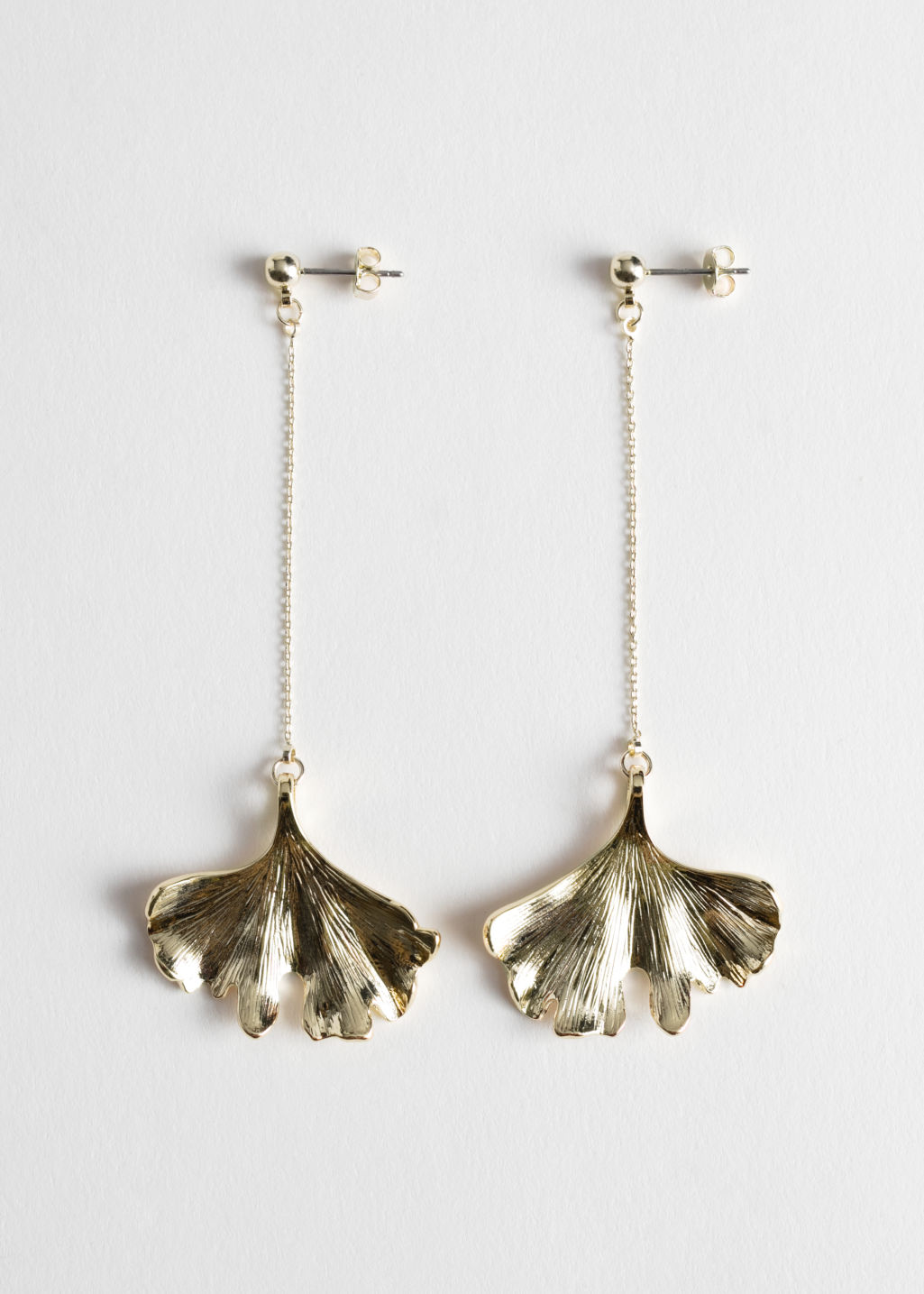 StillLife Front Image of Stories Ginkgo Leaf Hanging Earrings in Gold