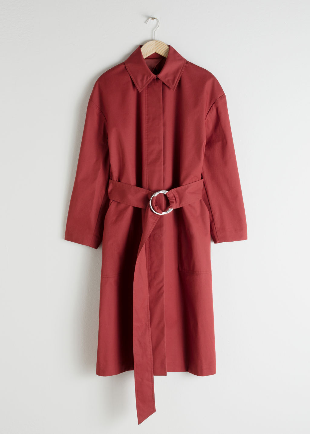Front image of Stories betled cotton twill trenchcoat in orange
