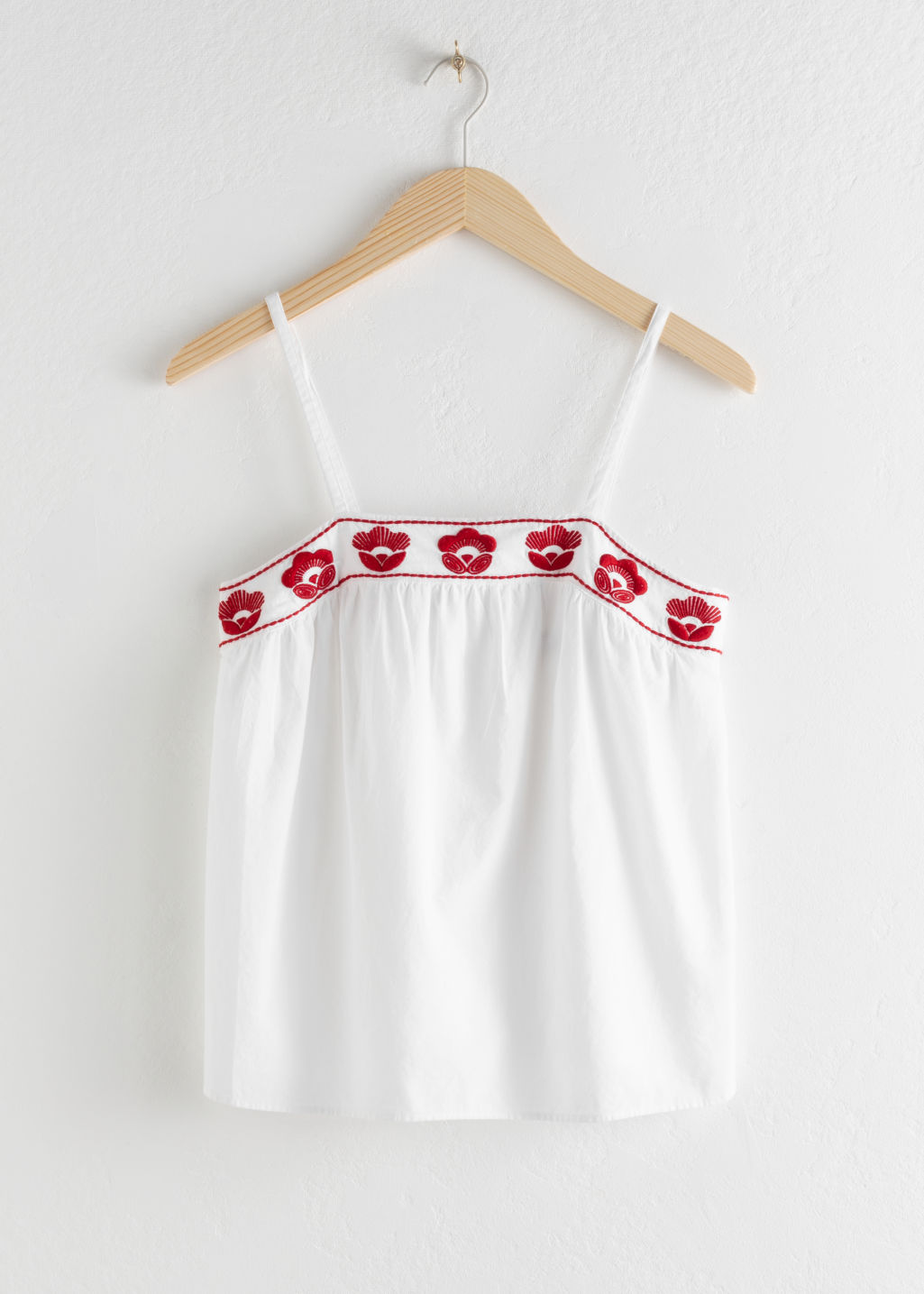 Front image of Stories floral embroidered cotton tank top in white