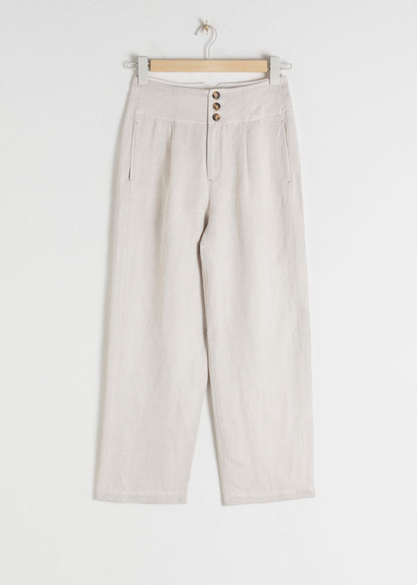 Front image of Stories high waisted linen blend trousers in white