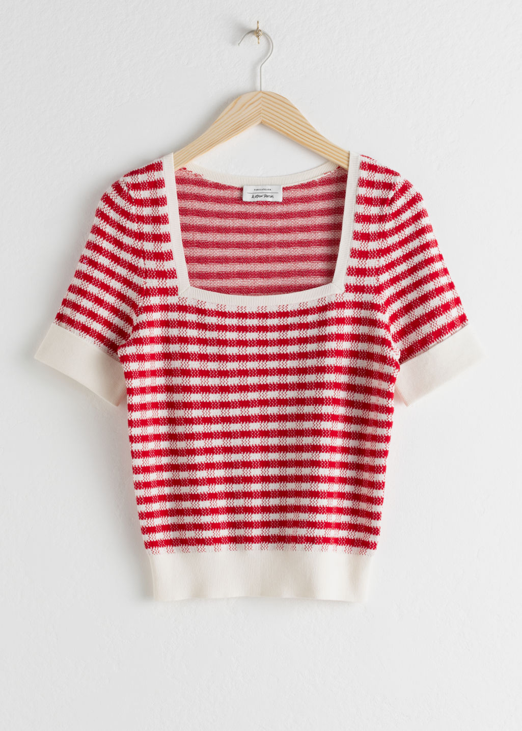 Front image of Stories cotton silk micro knit top in red