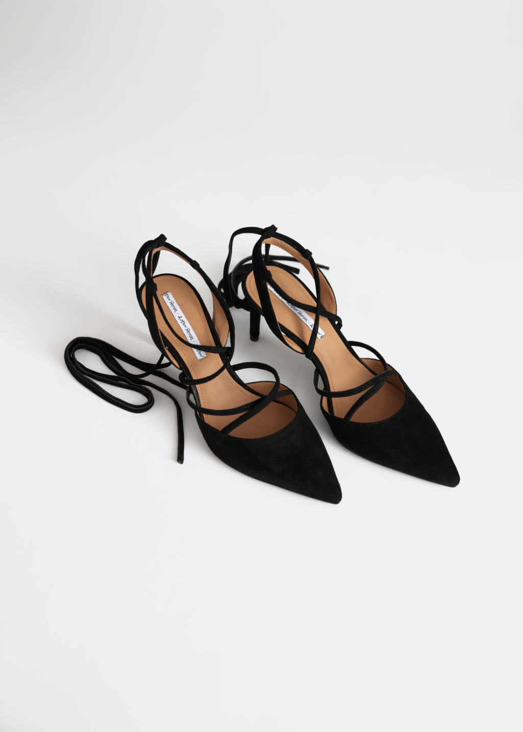 Back image of Stories pointed suede lace up stilettos in black