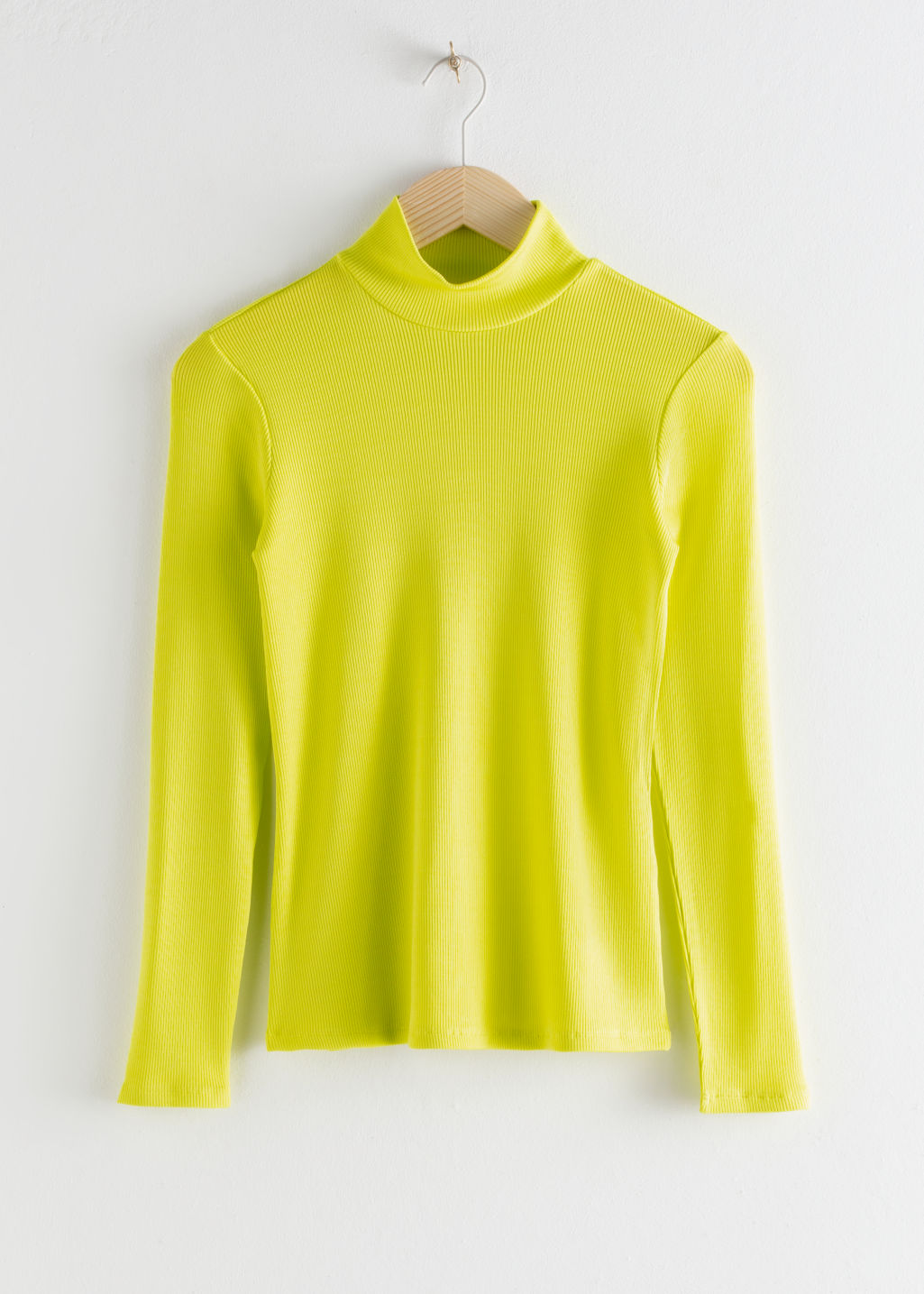 StillLife Front Image of Stories Fitted Long Sleeve Turtleneck in Yellow