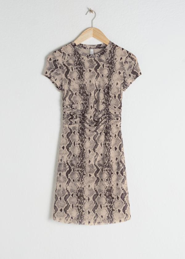 00cba8a9b18 ... Ruched Snake Print T-Shirt Dress