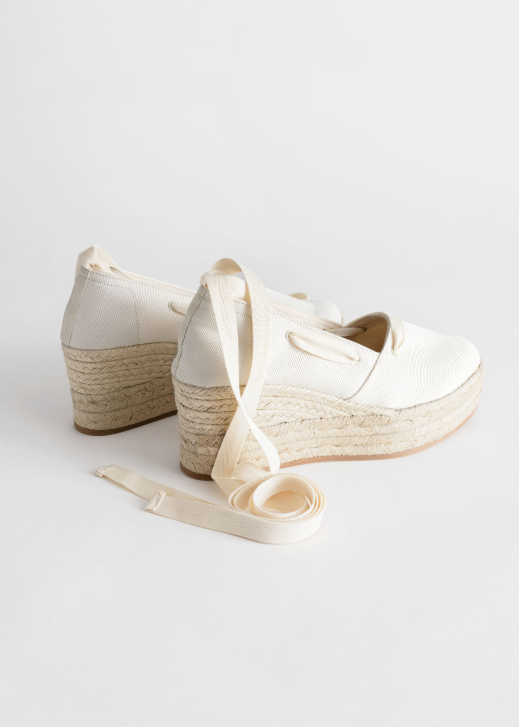Back image of Stories lace up espadrille wedges in white