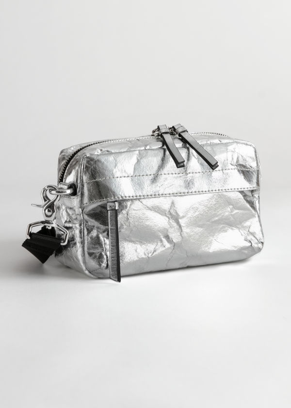 Metallic Textured Crossbody Bag