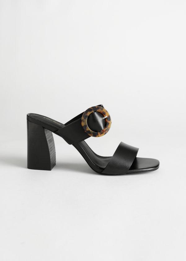 a4b409b3851f Tortoise Buckle Leather Heeled Sandals