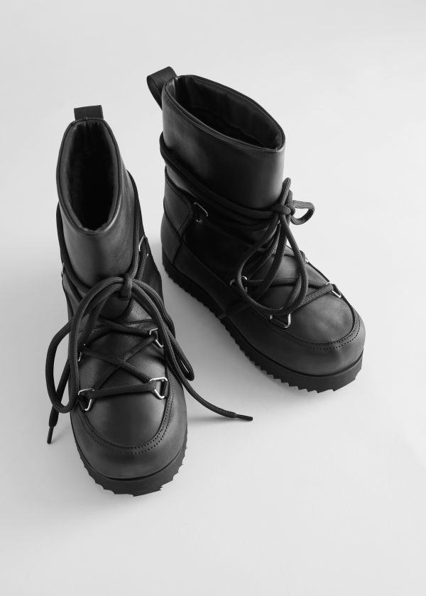 Chunky Leather Snow Boots
