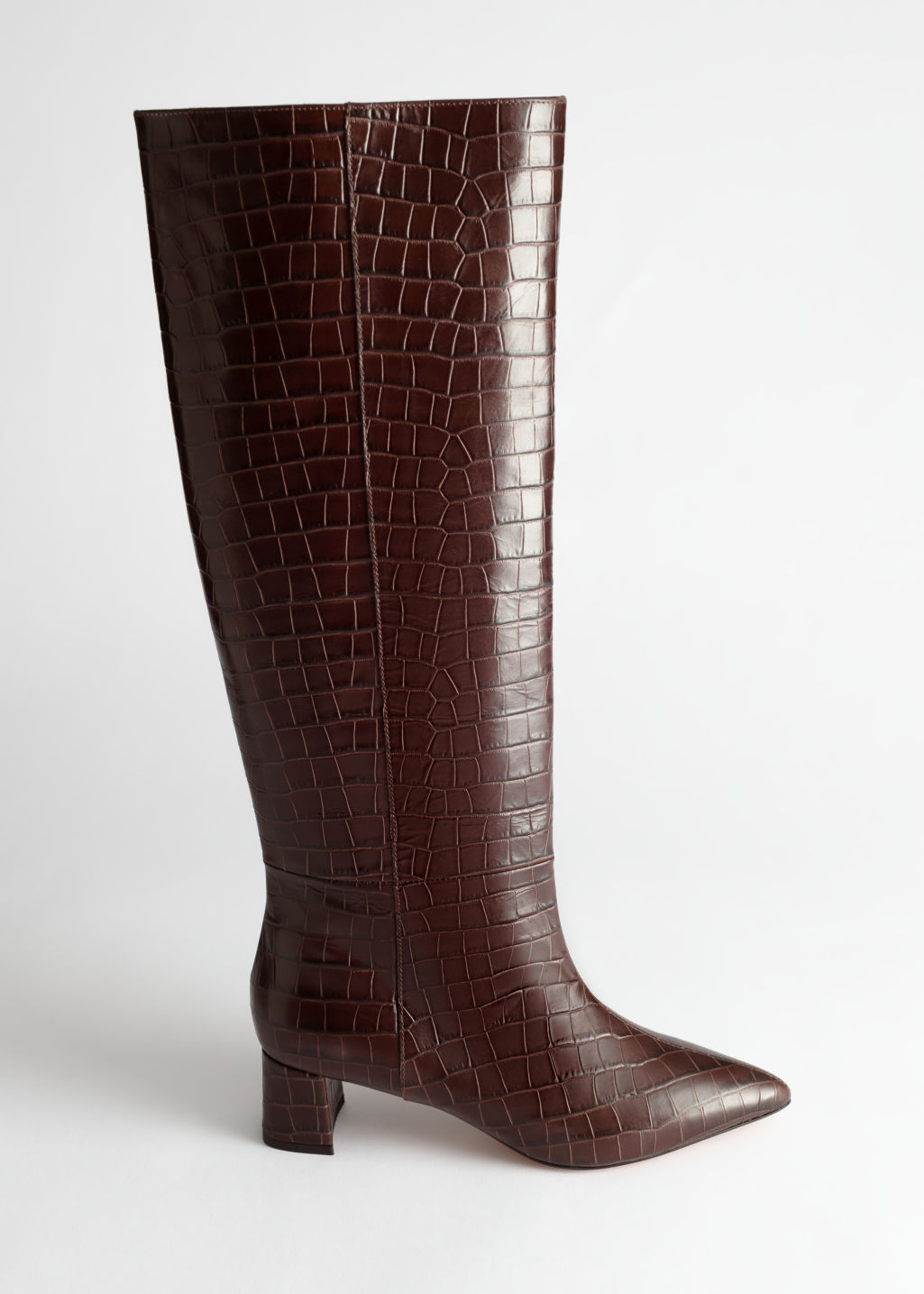 StillLife Front Image of Stories Croc Leather Knee High Boots in Orange