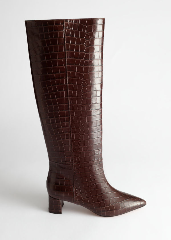 Croc Leather Knee High Boots