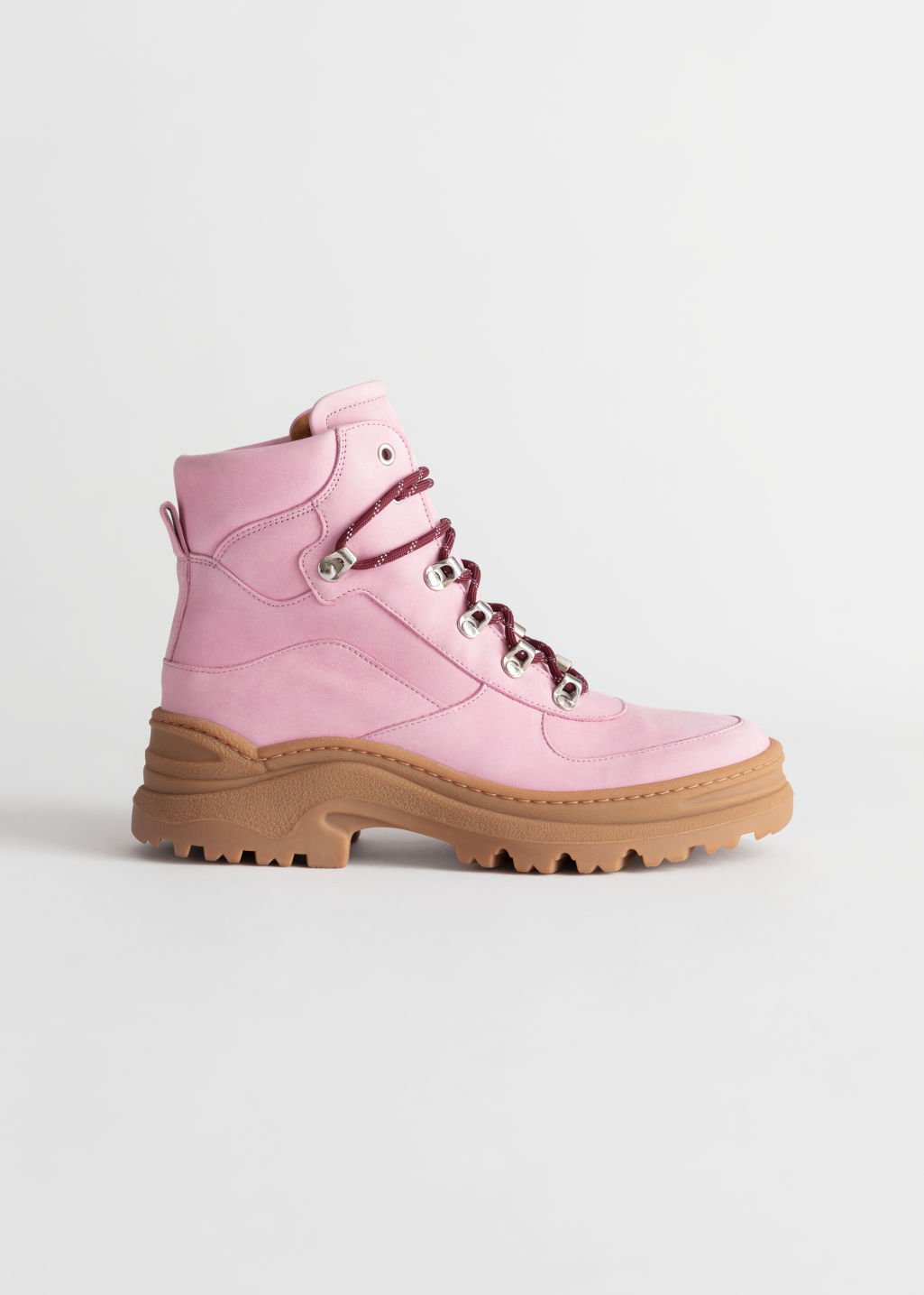 Front image of Stories chunky platform hiking boots in pink