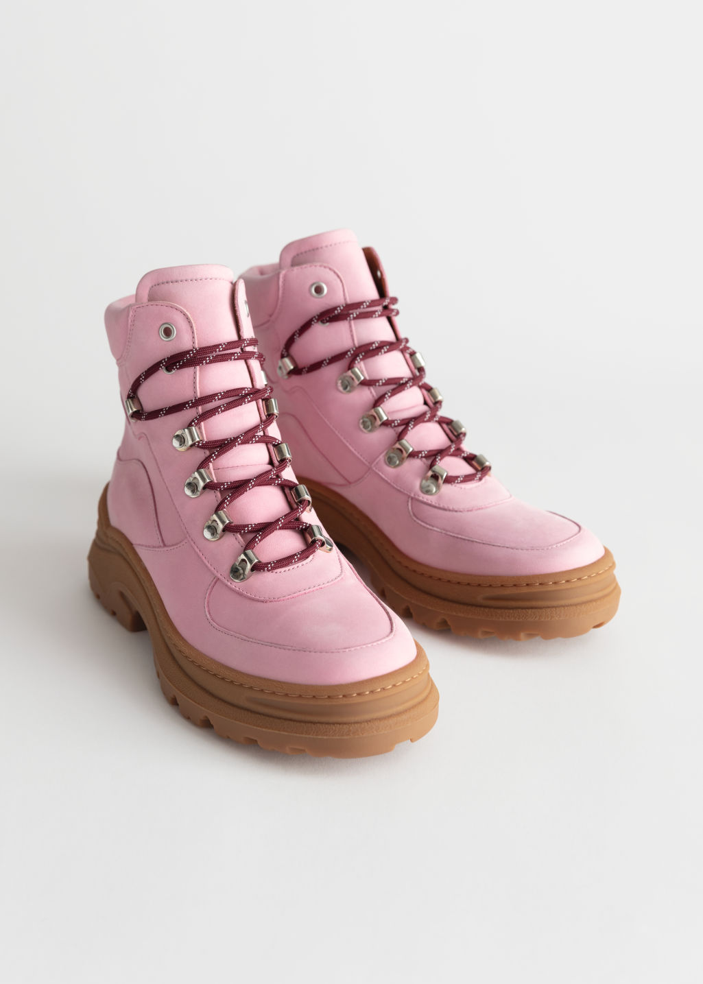 Back image of Stories chunky platform hiking boots in pink