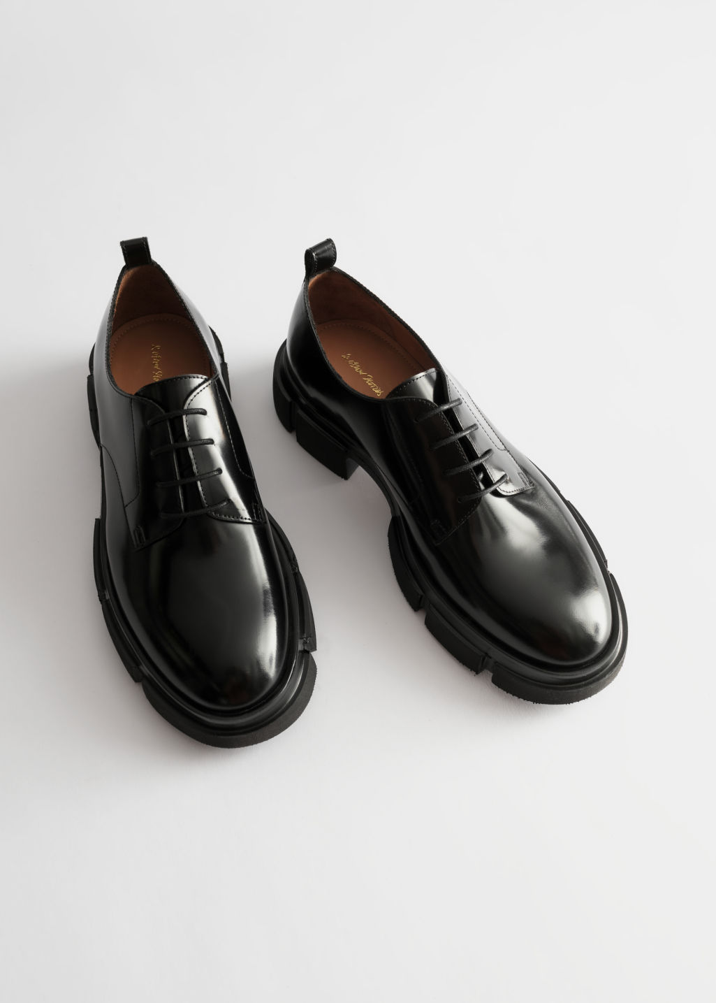 Back image of Stories technical chunky sole oxfords in black