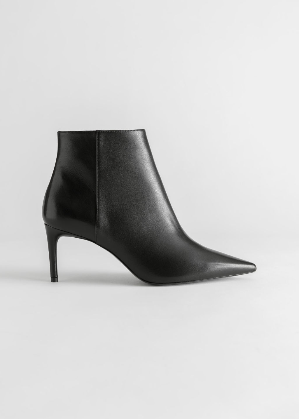 StillLife Front Image of Stories Pointed Stiletto Leather Ankle Boots in Black