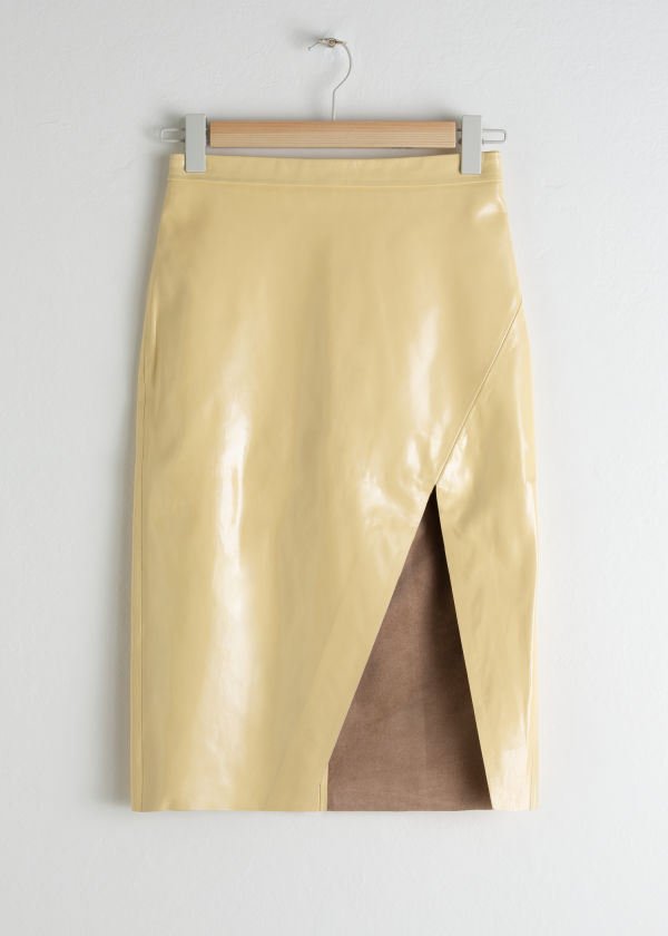 Leather Midi Pencil Skirt