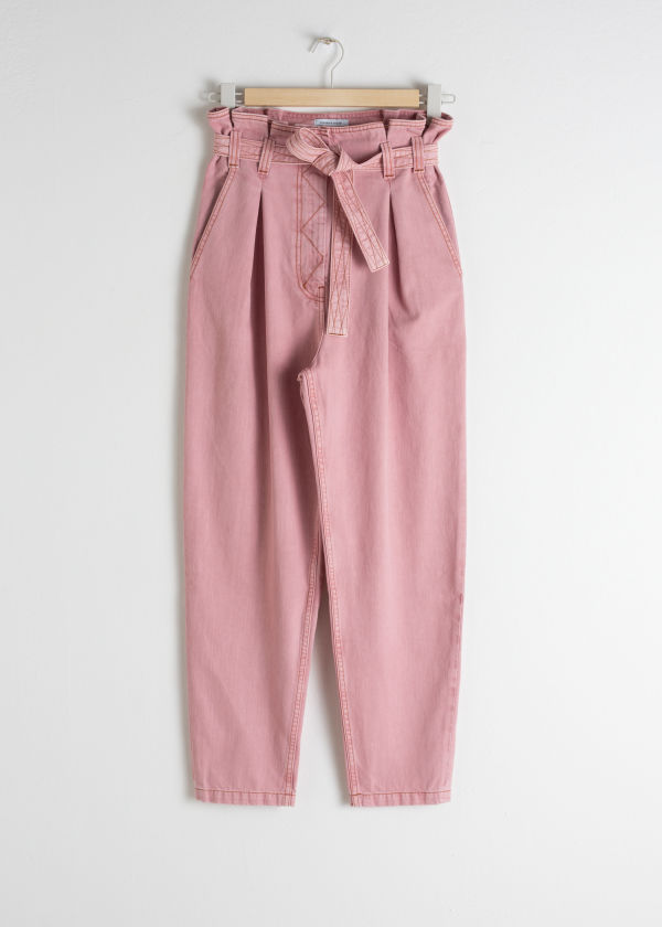Tapered Paperbag Waist Trousers