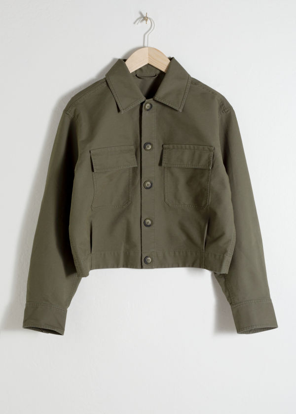 Front image of Stories cropped cotton twill jacket in green