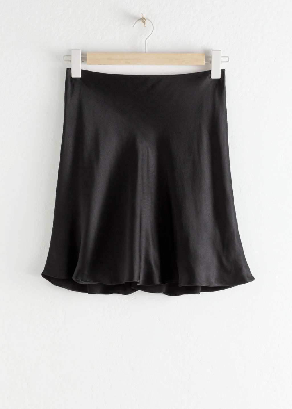 Front image of Stories satin mini skirt in black