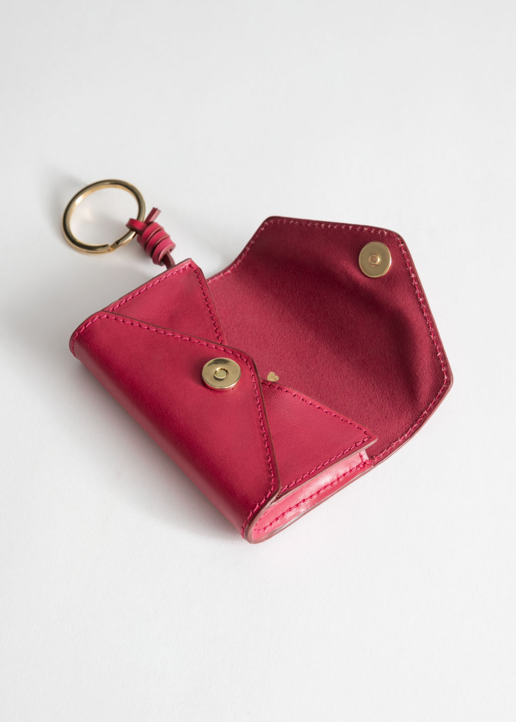 Back image of Stories leather envelope key pouch in pink