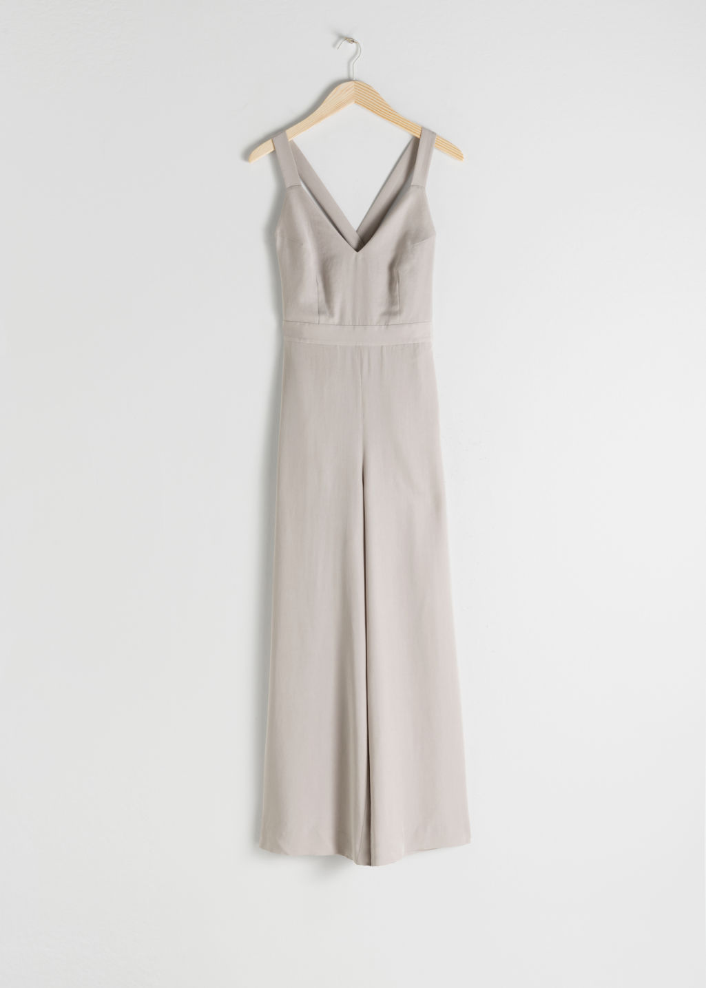 StillLife Front Image of Stories Lyocell Criss Cross Back Jumpsuit in Beige