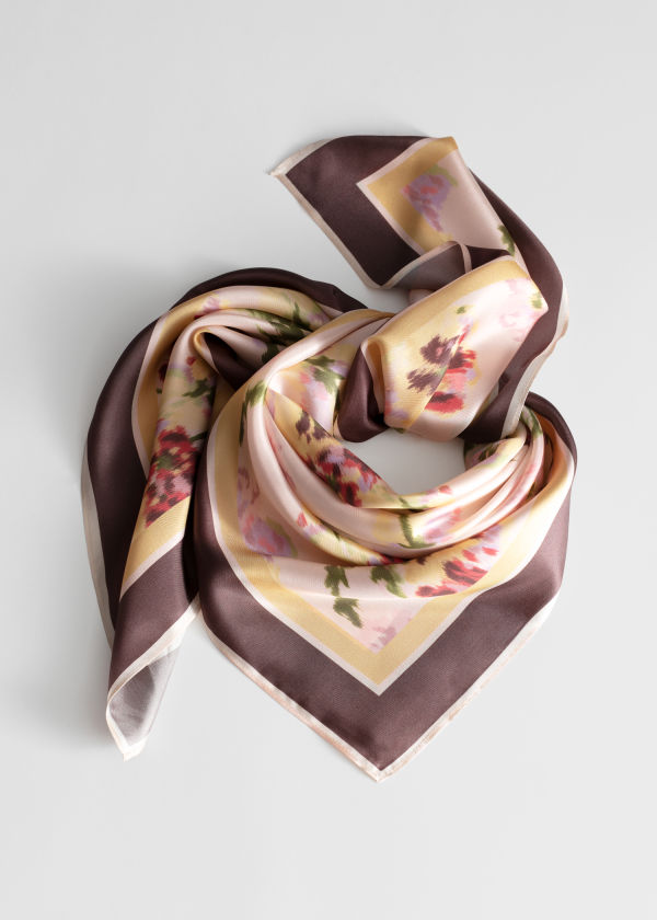 Watercolour Floral Silk Scarf