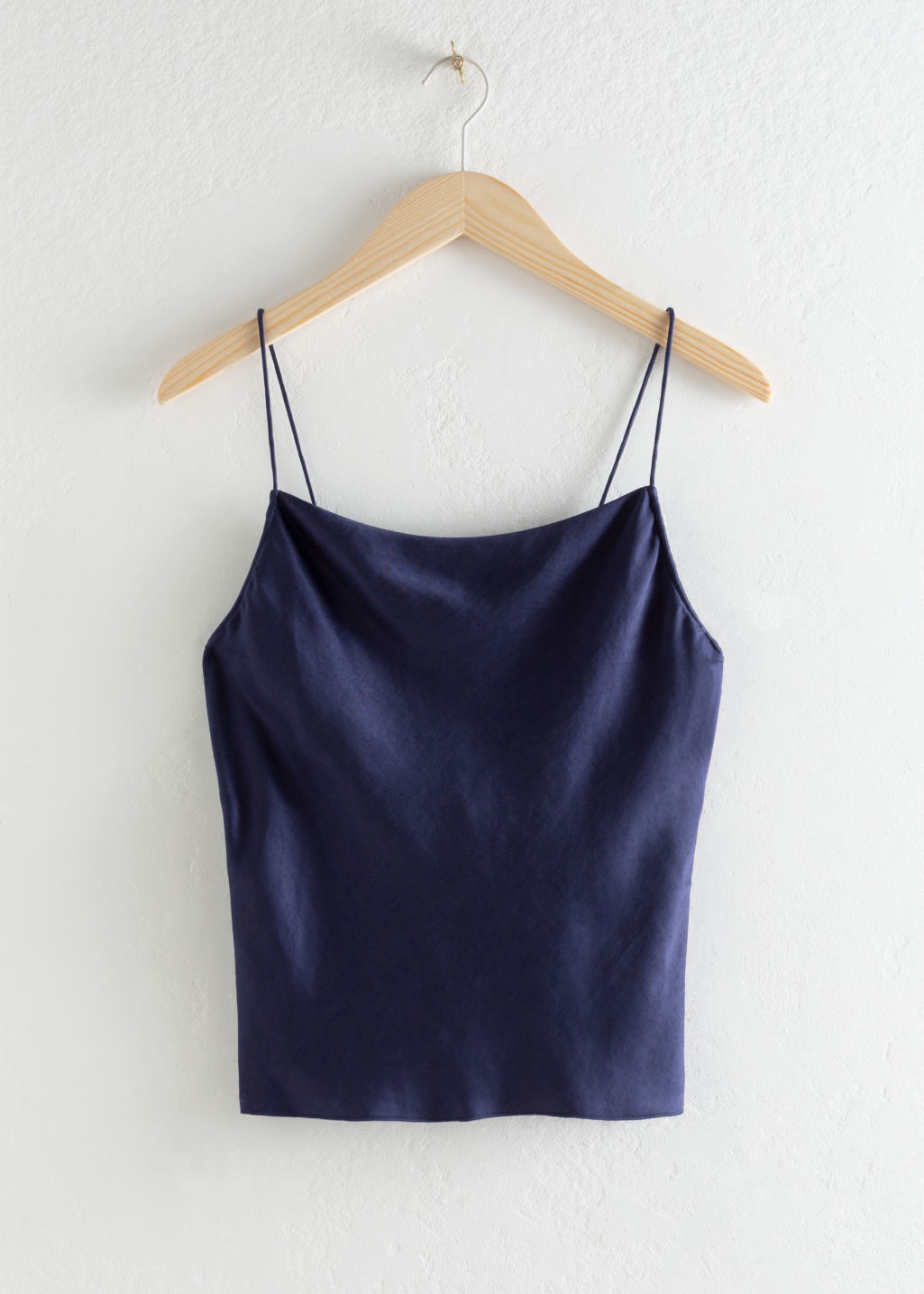 Front image of Stories lyocell blend cowl neck tank top in blue