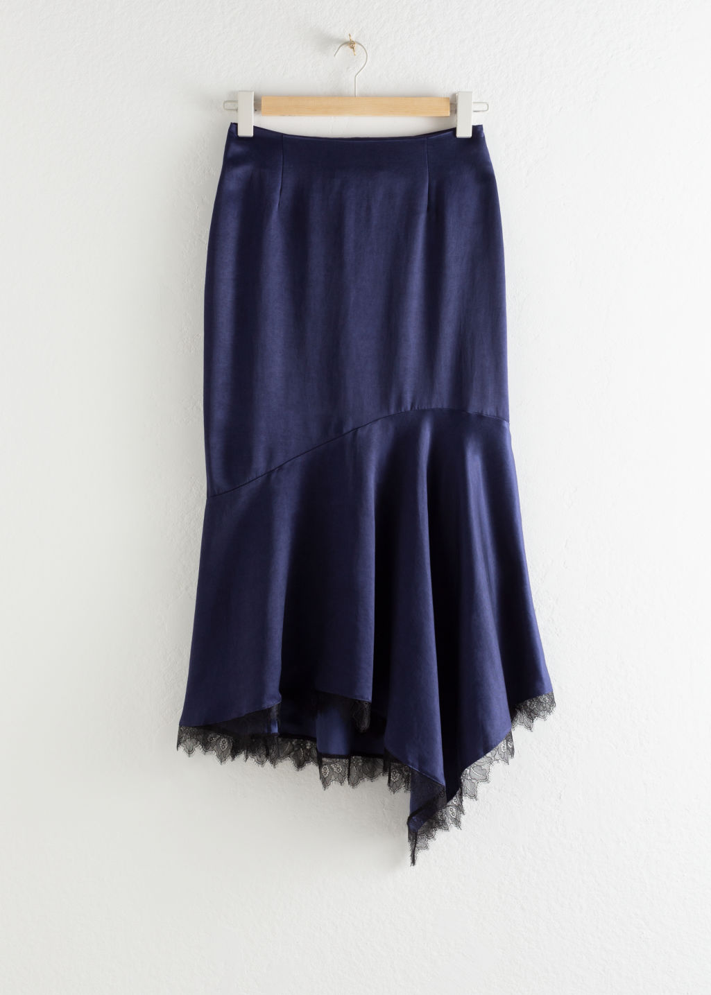 Front image of Stories lyocell blend lace ruffle midi skirt in blue