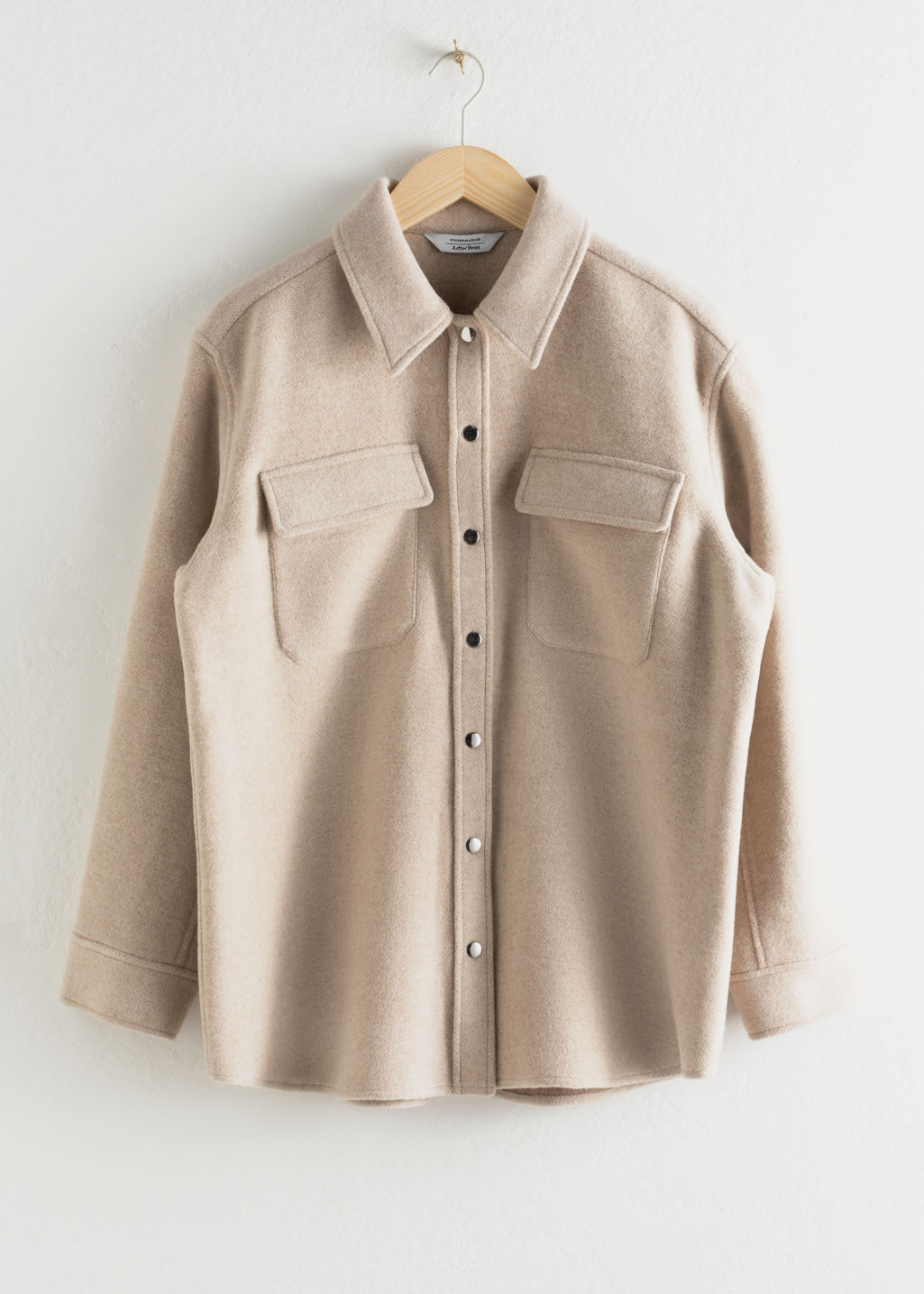 Front image of Stories oversized wool blend workwear shirt in brown