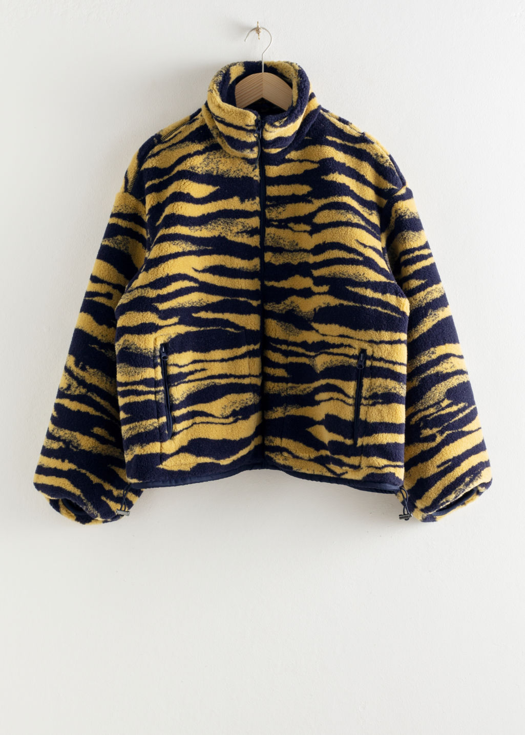Front image of Stories relaxed utility fleece jacket in yellow