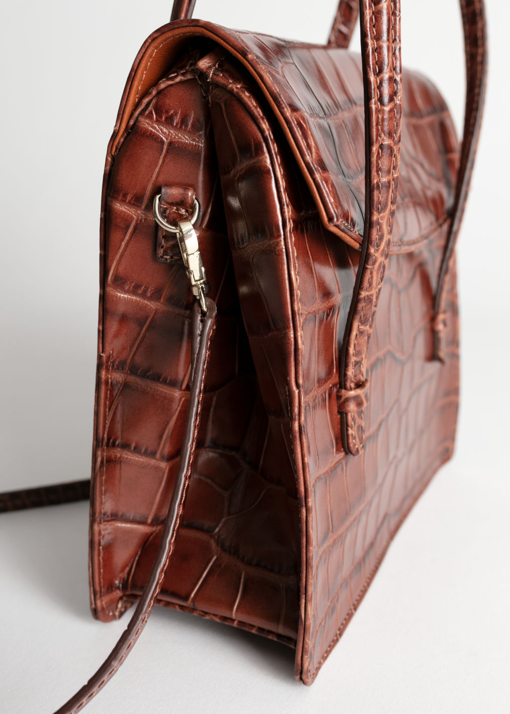 Back image of Stories leather croc square crossbody bag in brown