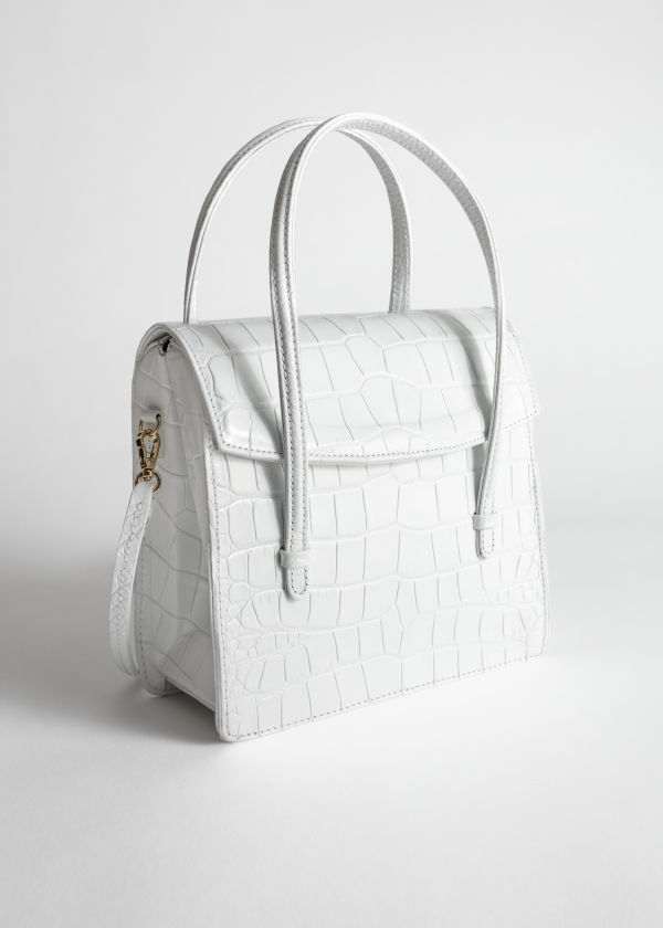 Leather Croc Square Crossbody Bag