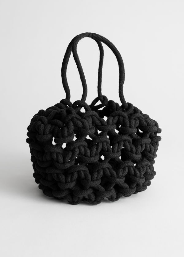 Cotton Macrame Bucket Bag