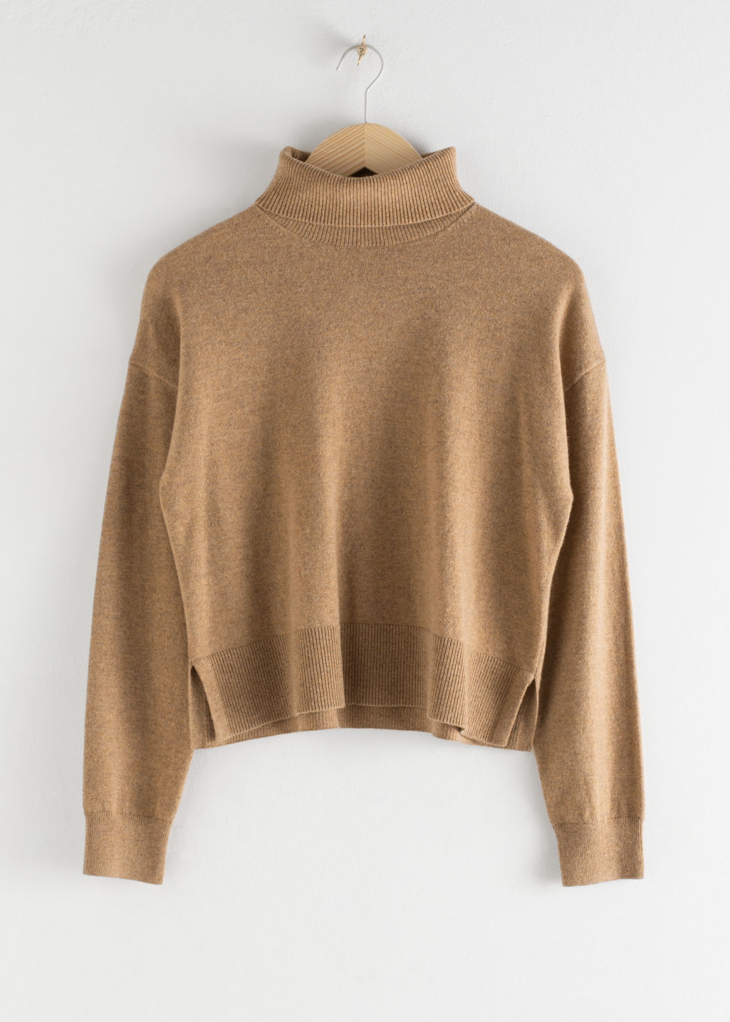 Front image of Stories cashmere turtleneck sweater in beige