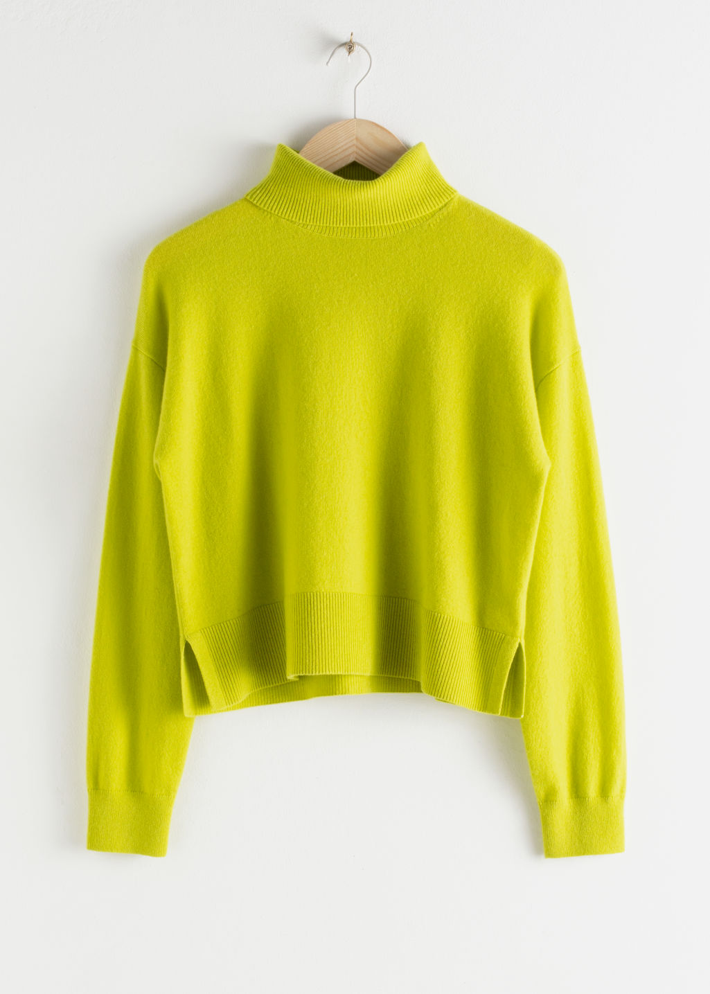 Front image of Stories cashmere turtleneck sweater in yellow