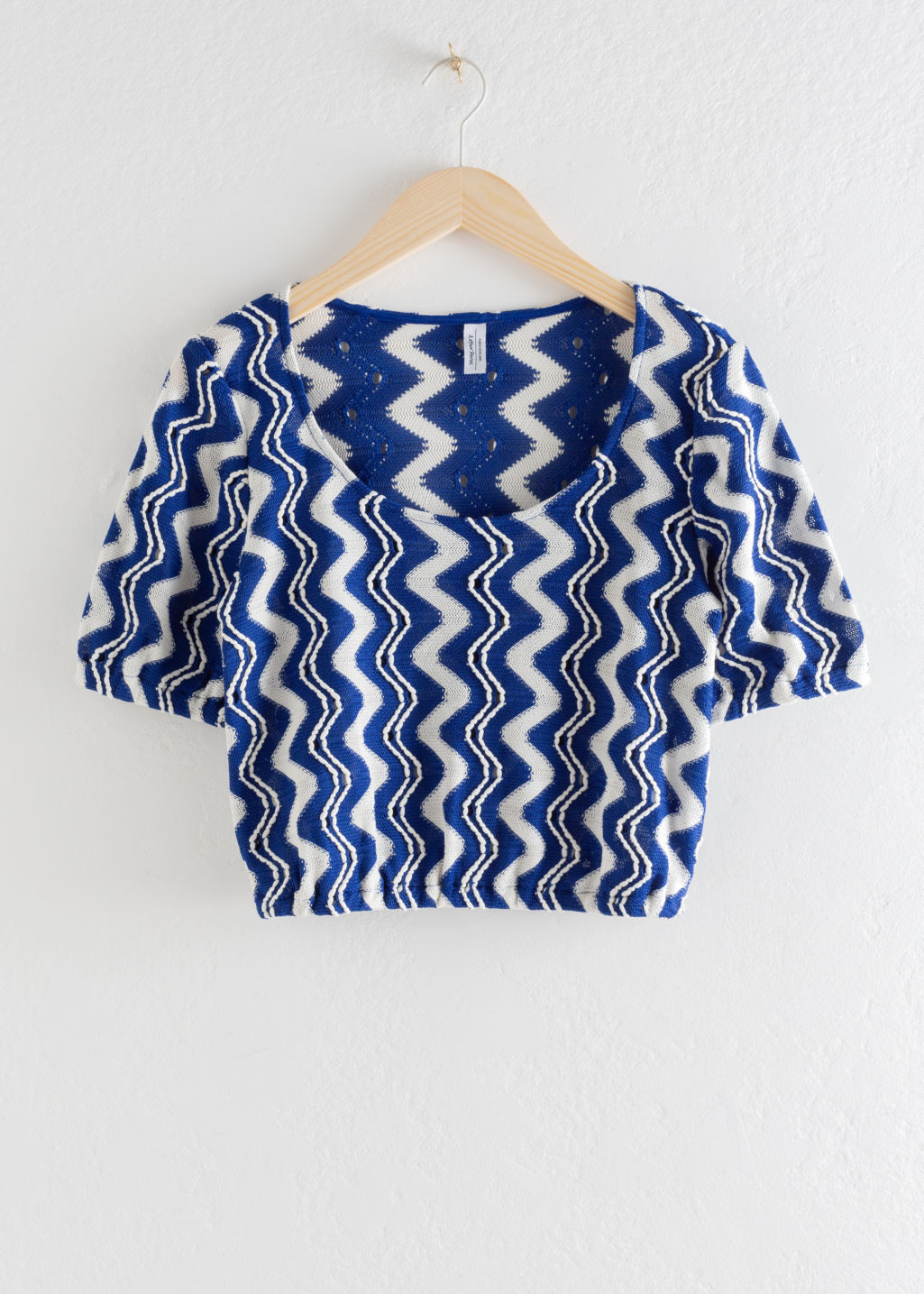 Front image of Stories jacquard wave crop top in blue