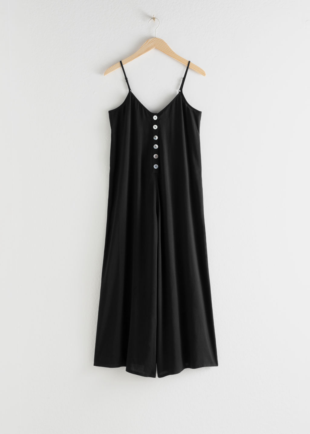 StillLife Front Image of Stories Relaxed Spaghetti Strap Jumpsuit in Black