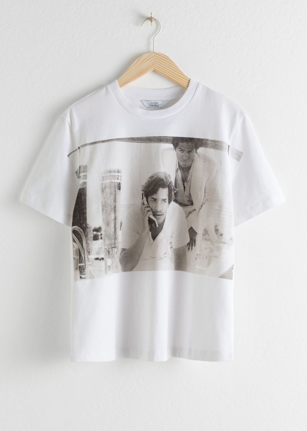 Front image of Stories miami graphic tee in white